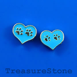 Floating charm, silver-finished, 8x10mm heart, dog paw. Pkg of 7