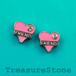 "Floating charm, silver-finished,9mm heart ""FRIEND"",crystal.7 pcs"