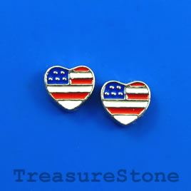 Floating charm, silver-finished, 7mm heart, American flag. 8pcs