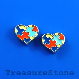 Floating charm, silver-finished, 8x9mm heart. Pkg of 6.