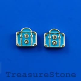 Floating charm, silver-finished, 8mm suitcase. Pkg of 8.
