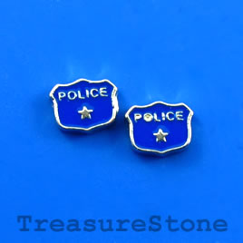 "Floating charm, silver-finished, 7x9mm ""POLICE"". Pkg of 10."