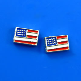 Floating charm, silver-finished, 5x8mm American Flag. Pkg of 8.