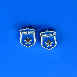 "Floating charm, silver-finished, 6x8mm ""POLICE"". Pkg of 10."