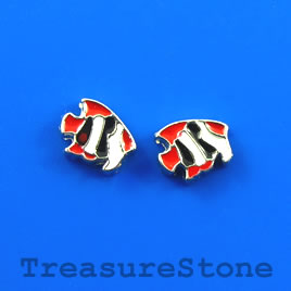 Floating charm, silver-finished, 8x6mm fish. Pkg of 8.