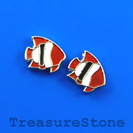 Floating charm, silver-finished, 9mm fish. Pkg of 7.