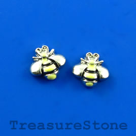 Floating charm, silver-finished, 7x8mm bee. Pkg of 11.