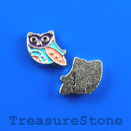 Floating charm, silver-finished, 12x9mm owl. Pkg of 7.