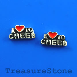 "Floating charm, silver-finished, 6x11mm ""I love to CHEER"". 8pcs"