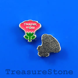 "Floating charm, silver-finished, 8mm ""Thank you"". Pkg of 8."