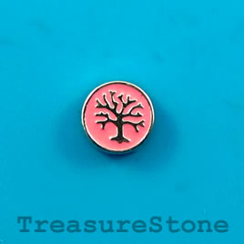 Floating charm, silver-finished, 9mm Tree of Life. Pkg of 10.