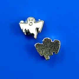 Floating charm, silver-finished, 8x9mm. Pkg of 10.