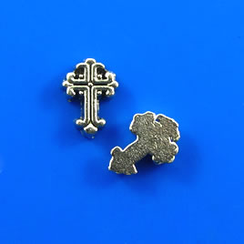 "Floating charm, silver-finished, 6x9mm cross"". Pkg of 20."