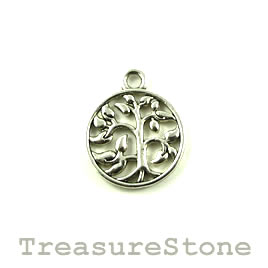 Charm/pendant, silver-finished, 15mm Tree of Life. Pkg of 12.