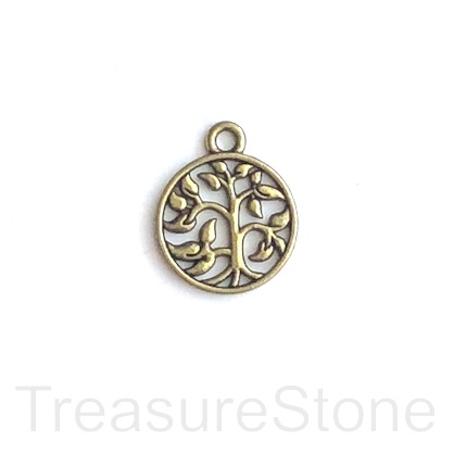 Charm/pendant, brass-finished, 15mm Tree of Life. Pkg of 12.