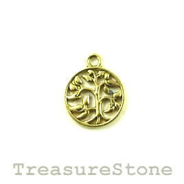 Charm/pendant, gold-finished, 15mm Tree of Life. Pkg of 12.