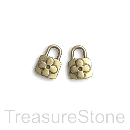 Pendant/charm, brass-finished, 8x11mm lock. pkg of 14.