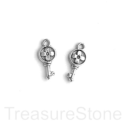 Charm, 7x14mm silver-colored key. Pkg of 12.