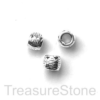 Bead, antiqued Silver Finished, 5mm tube, large hole, 3mm. 15