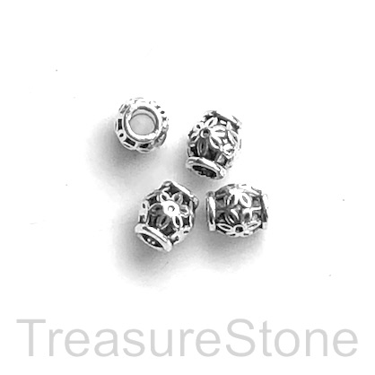 Bead, antiqued silver-finished, 6mm drum. Pkg of 15