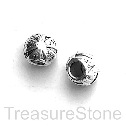 Bead, antiqued silver-finished, 7x8mm drum, large hole, 3mm. 12.