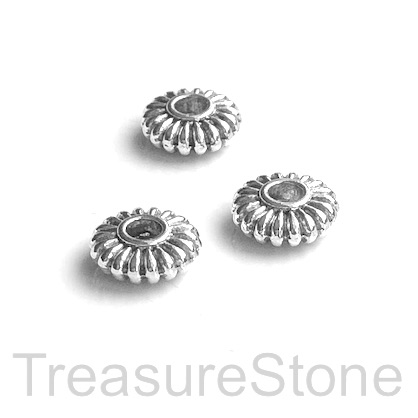 Bead, antiqued silver finished, 3x9mm rondelle. Pkg of 12.