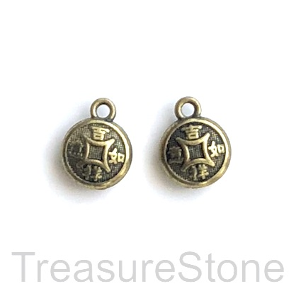 Charm, brass-plated, 10mm puffed chinese coin. Pkg of 12.