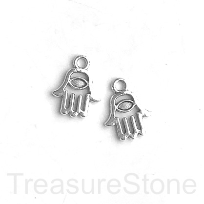 Charm, silver-finished, 11mm Fatima, hamsa hand. Pkg of 12.