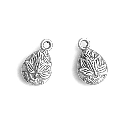 Charm, silver-colored, 10x12mm lotus flower. Pkg of 12.