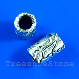 Bead, antiqued silver-finished, 6x9mm tube. Pkg of 15.