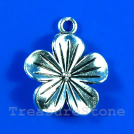 Pendant/charm, silver-finished, 20mm flower. Pkg of 5.