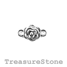 Bead/link, silver-plated, 10mm rose. Pkg of 12.