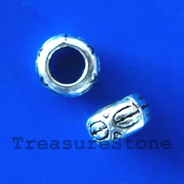 Bead,antiqued silver-finished,7x4mm, large hole, 4mm. Pkg of 20.