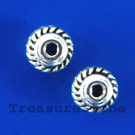 Bead, antiqued silver-finished, 5x3mm saucer. Pkg of 25.