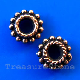 Bead, antiqued copper-finished, large hole, 8x2mm. 20pcs