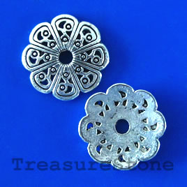 Bead cap, antiqued silver-finished, 14mm. pkg of 16.