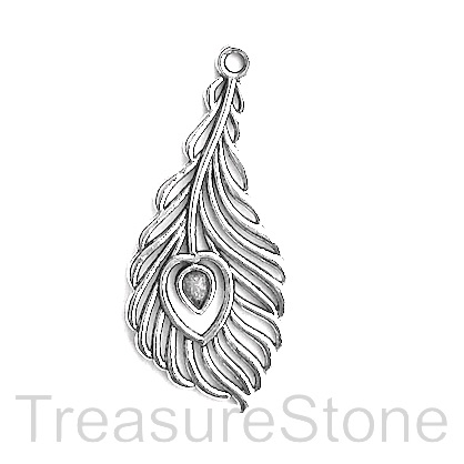 Pendant, silver-finished, 18x37mm peacock feather. Pkg of 5.