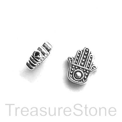 Bead, antiqued silver finished, 10x12mm Fatima, hamsa Hand. 10.