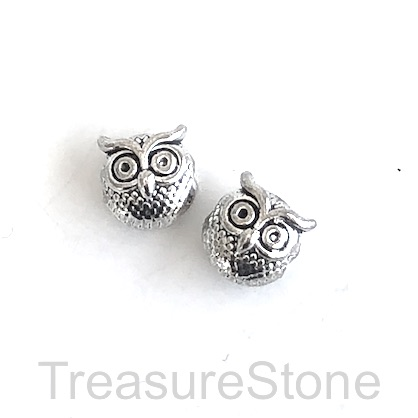 Bead, antiqued silver finished, 11mm owl. Pkg of 8