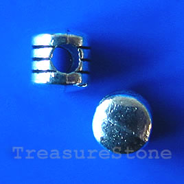 Bead, antiqued silver-finished, 5mm. Pkg of 20.