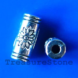 Bead, antiqued silver-finished, 4x10mm tube. Pkg of 20.