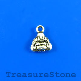 Charm, silver-plated, 9mm Buddha. Pkg of 15.