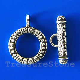 Clasp, toggle, antiqued silver-finished, 18mm. Pkg of 6.