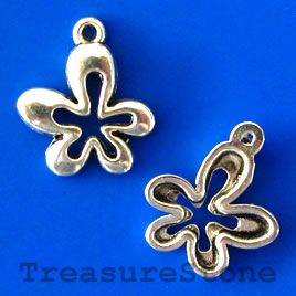 Charm/pendant, silver-plated, 14mm flower. Pkg of 15.
