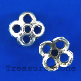 Bead cap, antiqued silver-finished, 10x4mm. Pkg of 14