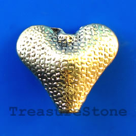 Bead/Focal, antiqued gold-finished, 20x22x8mm heart. Pkg of 4.