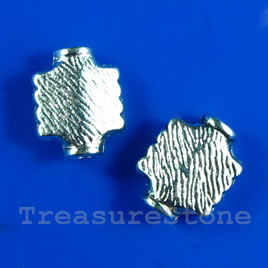 Bead, silver-finished, 8x10mm. Pkg of 15.