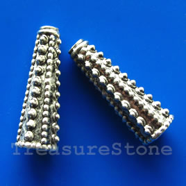 Cone, antiqued silver-finished, 10x30mm. Pkg of 2.