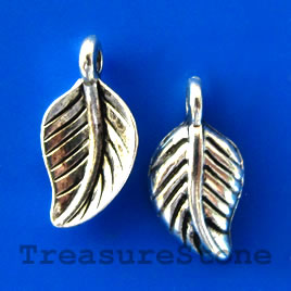 Charm/pendant, silver-plated, 7x11mm leaf. Pkg of 15.