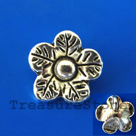 Charm/pendant, silver-plated, 12mm flower. Pkg of 15.